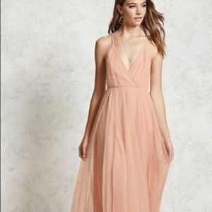 NWT forever 21 long dress mauve tulle prom evening